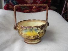 LOVELY OLD POTTERY BASKET ART DECO 3D COTTAGE DESIGN BAMBOO WRAPPED HANDLE